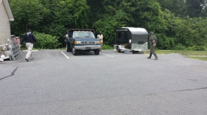 One of the outdoors scenarios, approached from 2 directions in a parking lot.