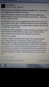The Vickers announcement on Facebook.