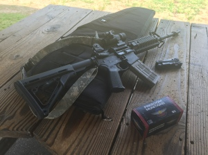 Stag Arms AR, Freedom Munitions training ammo, and a Multitasker Series 3 Multitool.