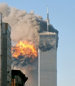 The World Trade Center in flames... 9/11/01