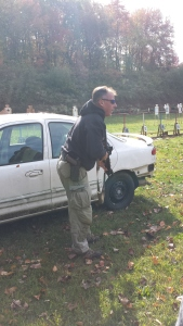 Mike explaining some shooting positions around vehicles.
