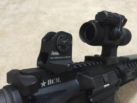 Daniel Defense fixed rear sight and my Aimpoint Comp ML2...