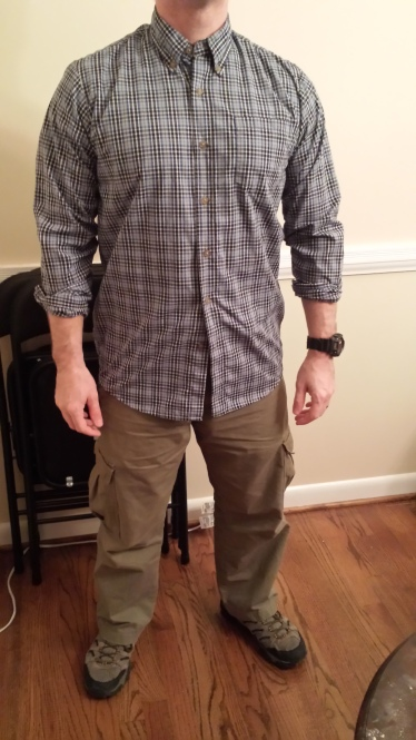 Patterned shirt of lighter weight than the other.