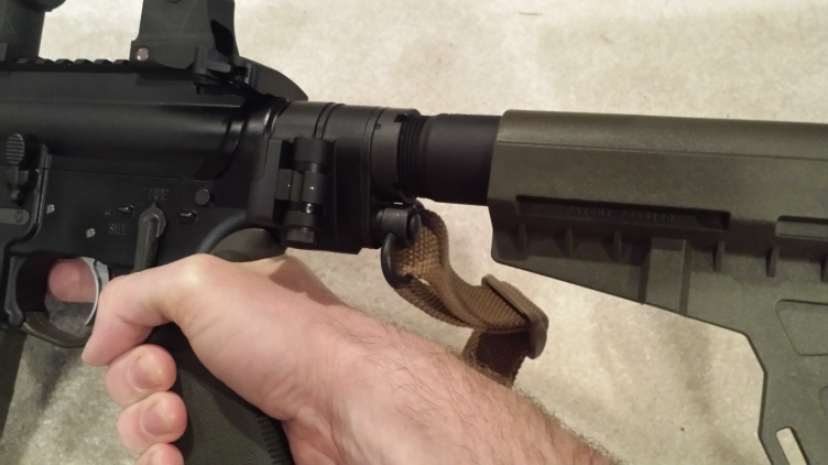 QD Sling Swivel is much better placed into receiver end plate, now at the rear end of the Law Tactical folding hinge.