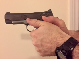 Thumb riding safety lever on a 1911...