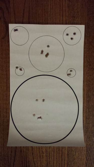 Second time: 2 shots per circle (using the left side small circles), then 3 shots per circle (using the right side small circles).